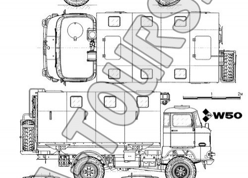 IFA LKW W50 mit LAK II  - Zeichnung